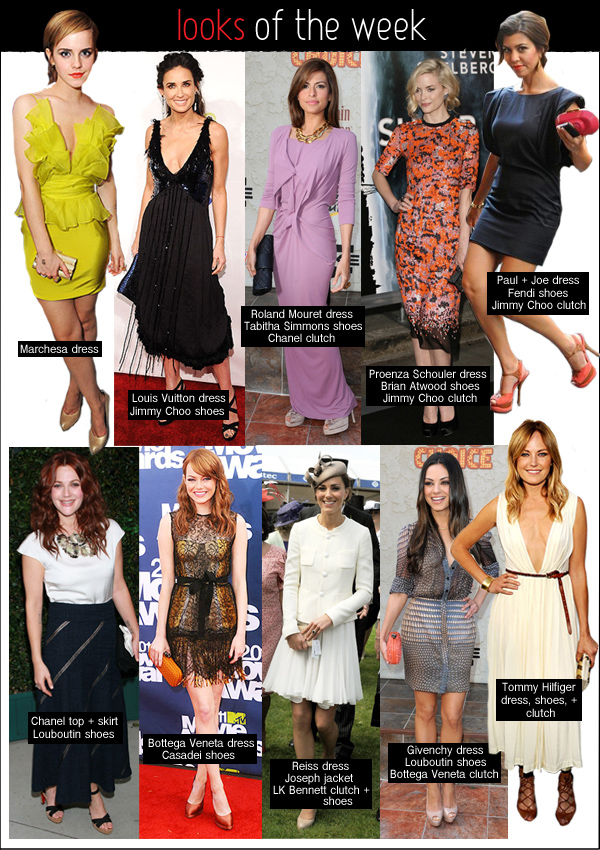 looks of the week, emma watson marchesa, emma stone bottega veneta, kate middleton reiss