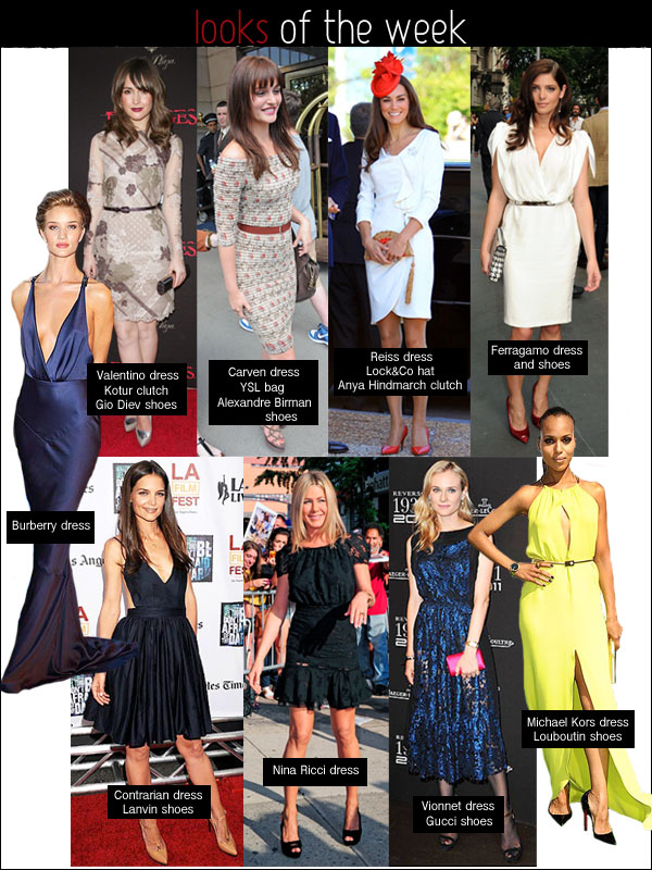 kate middleton reiss, katie holmes contrarian, diane kruger vionnet, rose byrne valentino, jennifer aniston nina ricci