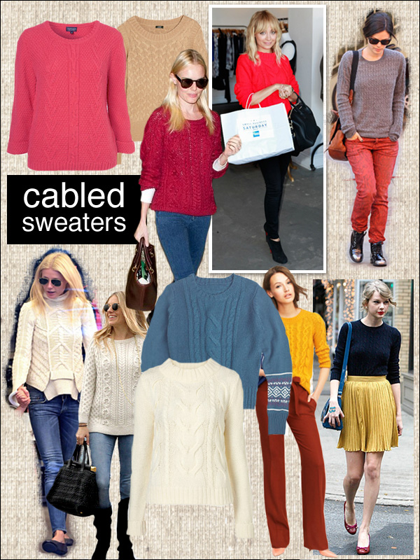 cable sweater, kate bosworth, rachel bilson, sienna miller, gwyneth paltrow
