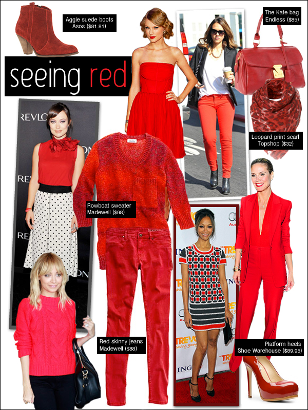 nicole richie red sweater, taylor swift red dress, zoe saldana trevor project