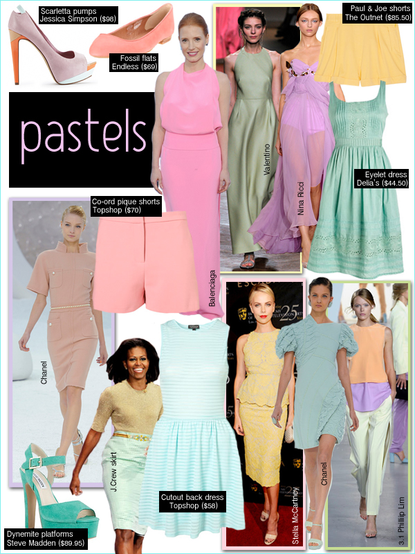 pastels spring 2012, jessica chastain balenciaga, michelle obama j. crew