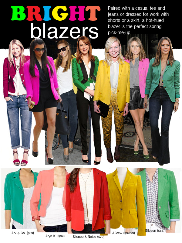 bright blazers, beyonce yellow blazer, olivia palermo pink blazer, jessica alba green blazer, kim kardashian pink blazer