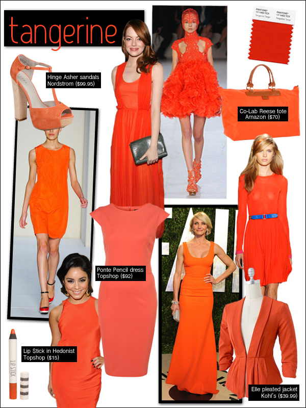 tangerine 2012, emma stone carven, cameron diaz victoria beckham, pantone tangerine tango