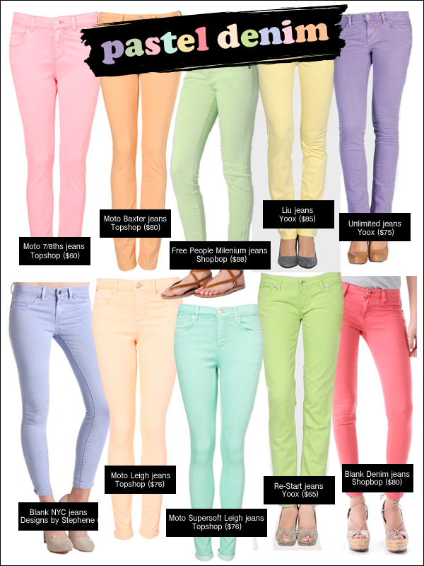 pastel denim, pastel jeans, colored denim, spring denim trends, denim spring 2012