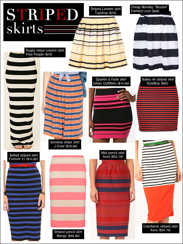 stripes spring 2012, striped skirts, budget style