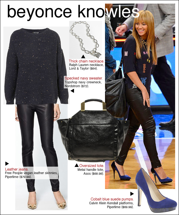 beyonce bangs, beyonce knicks, beyonce basketball game, beyonce nets, beyonce leather pants