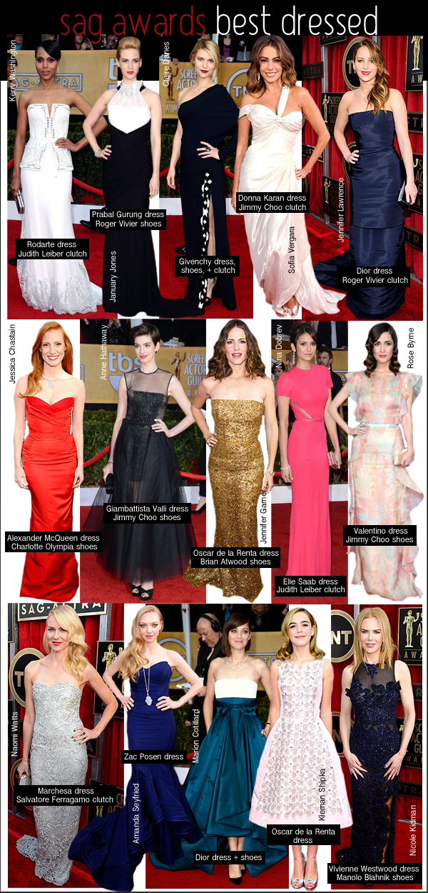 best dressed sag awards, best dressed screen actors, claire danes givenchy, jennifer lawrence sag awards