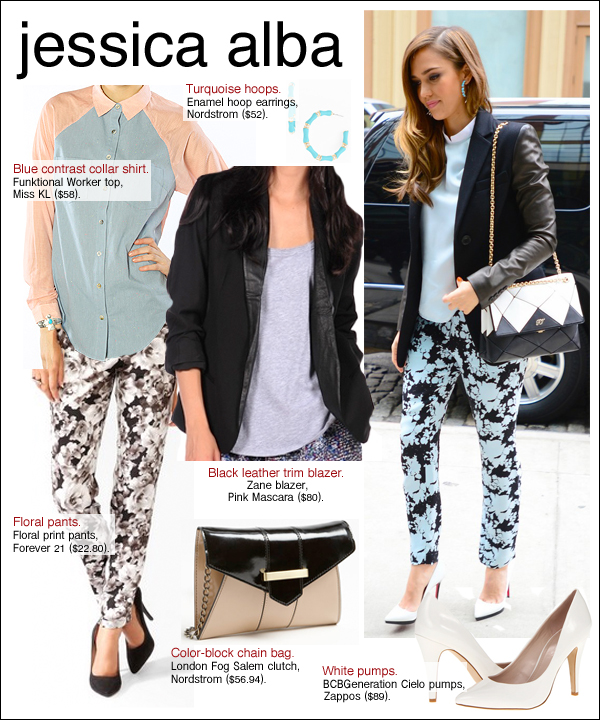 jessica alba floral pants, jessica alba style, jessica alba honest life