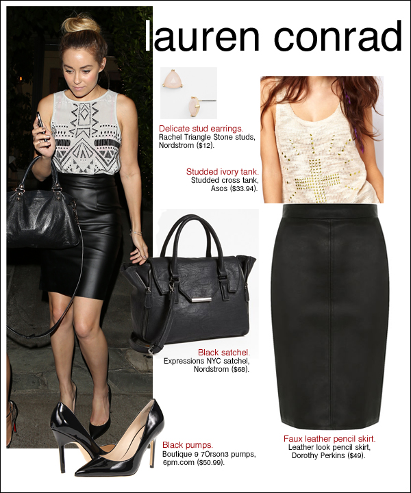 lauren conrad pencil skirt, lauren conrad style, lauren conrad leather skirt