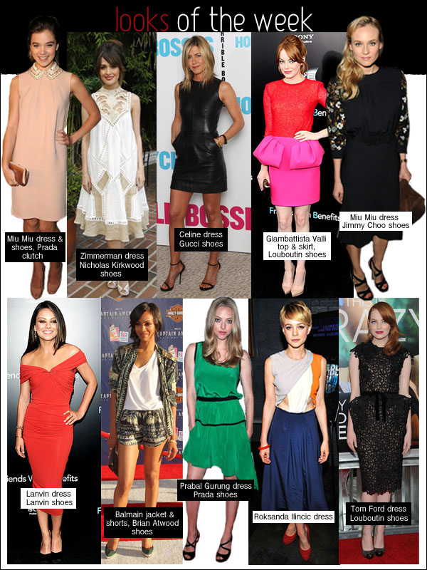 looks of the week, jennifer aniston celine, emma stone tom ford, zoe saldana balmain