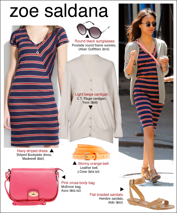 zoe saldana striped dress, zoe saldana style, zoe saldana los angeles, zoe saldana madewell