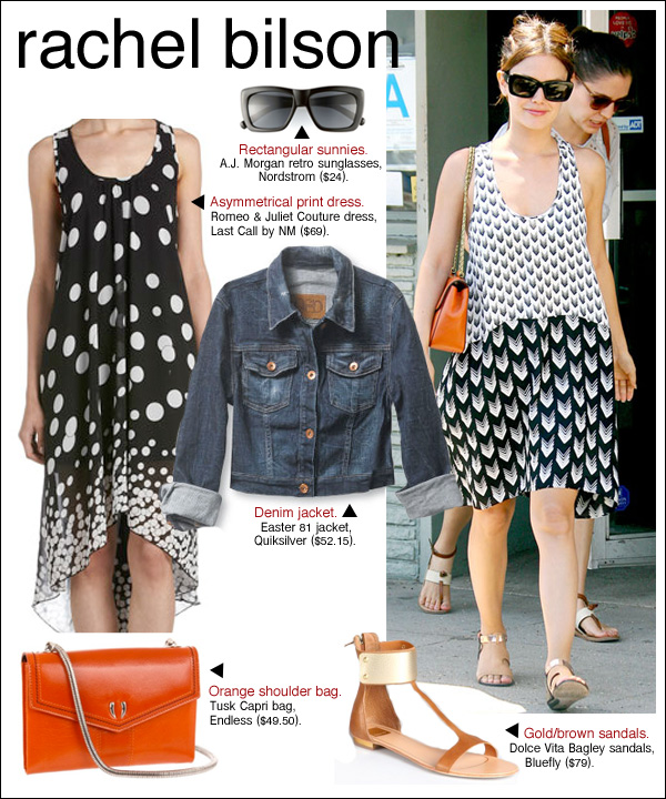 rachel bilson style, rachel bilson print dress, rachel bilson black and white