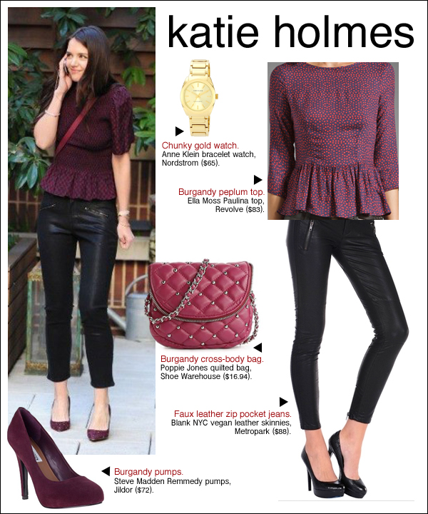 katie holmes style, katie holmes leather pants, katie holmes peplum, katie holmes fashion