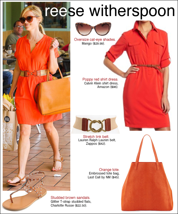 reese witherspoon style, reese witherspoon hair, reese witherspoon orange dress
