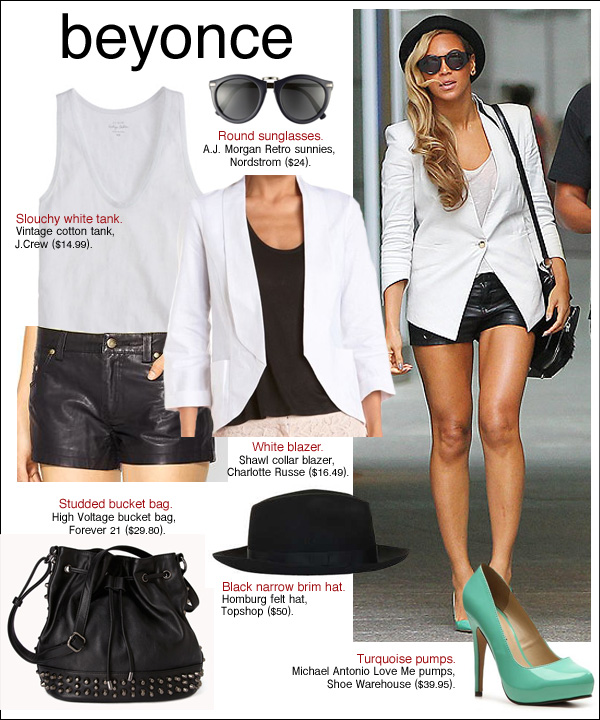beyonce style, beyonce leather shorts, beyonce shoes