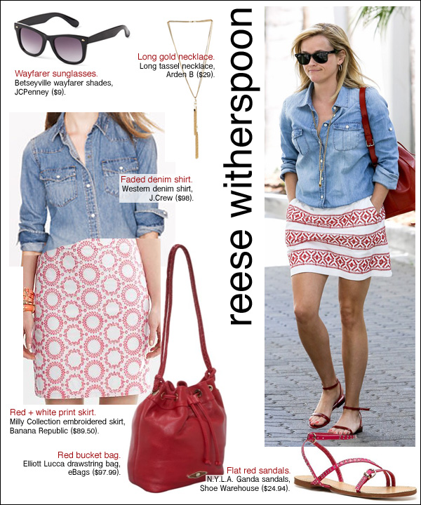reese witherspoon style, reese witherspoon denim shirt, reese witherspoon bag